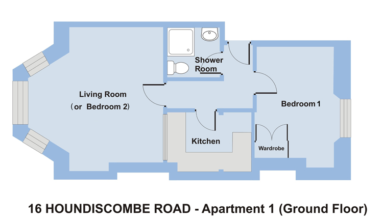 1 Bedroom Student Accommodation in Plymouth. 16 Houndiscombe Rd Apartment 1 - Ground Floor Plan