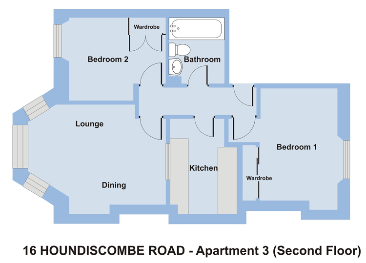 2 Bedroom Student Accommodation in Plymouth. 16 Houndiscombe Rd Apartment 3 Floor Plan
