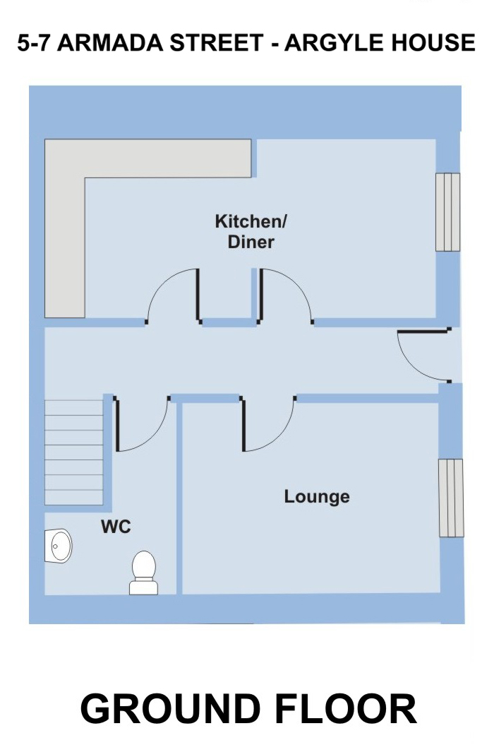 Argyll House, 5-7 Armada Street - 6 bedroom accommodation Plymouth - Floor Plan