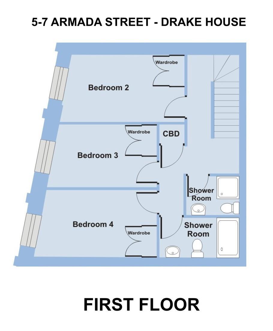 Drake House, 5- 7 Armada St. - 7 bedroom student accommodation Plymouth - Floor plan