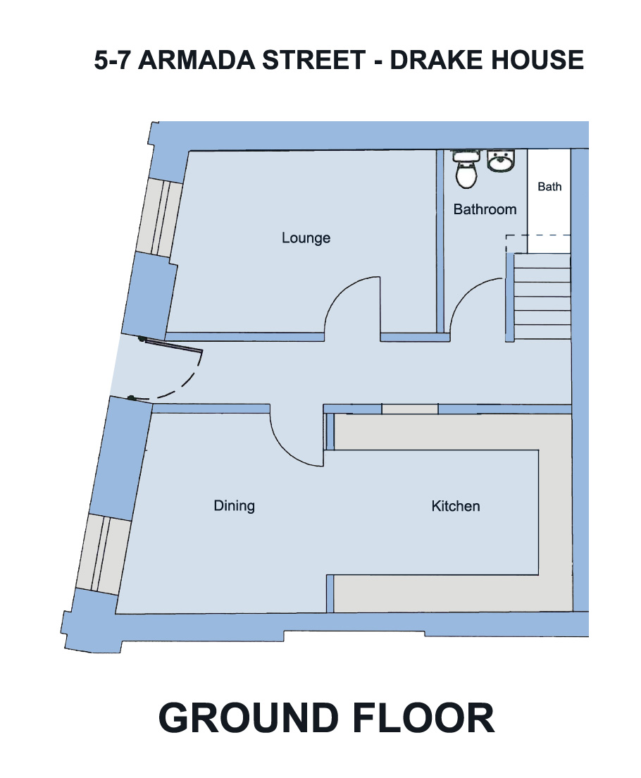 Drake House, 5- 7 Armada St. - 7 bedroom student accommodation Plymouth - Floor plan