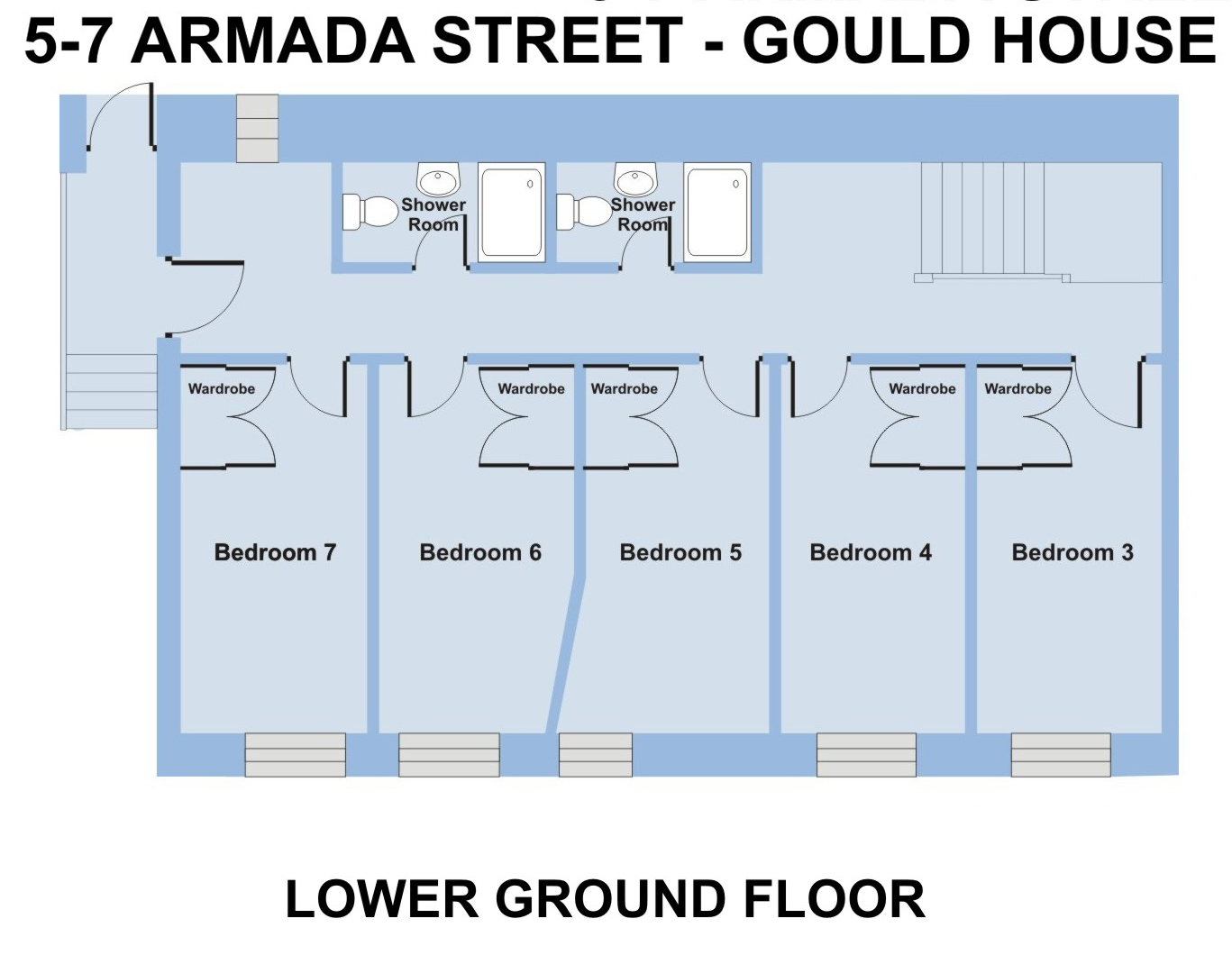 Gould House, 5-7 Armada St - 7 bedroom student accommodation Plymouth - Floor plan